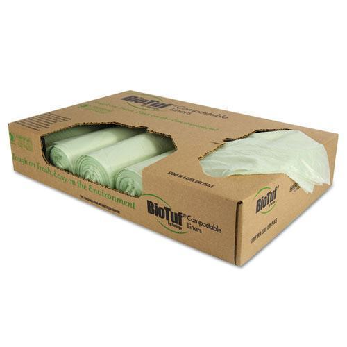 Heritage Biotuf Compostable Can Liners, 48 Gal, 1 Mil, 42 X 48, Light Green, 100-carton-Heritage-Omni Supply