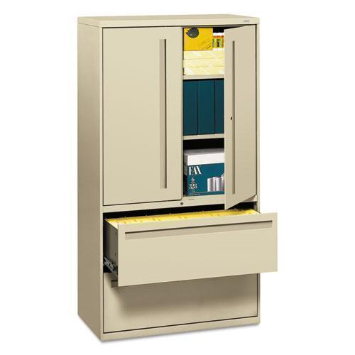 HON 700 SERIES LATERAL FILE W-STORAGE CABINET, 36W X 18D, PUTTY-HON®-Omni Supply
