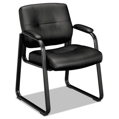 HON Vl690 Series Guest Leather Chair, Black Leather-HON®-Omni Supply