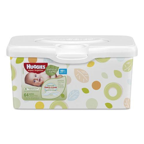 Huggies Natural Care Baby Wipes, Unscented, White, 64-tub, 4 Tub-carton-Huggies®-Omni Supply