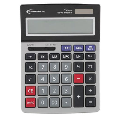 Innovera 15975 LARGE DISPLAY CALCULATOR, DUAL POWER, 12-DIGIT LCD DISPLAY-Innovera®-Omni Supply