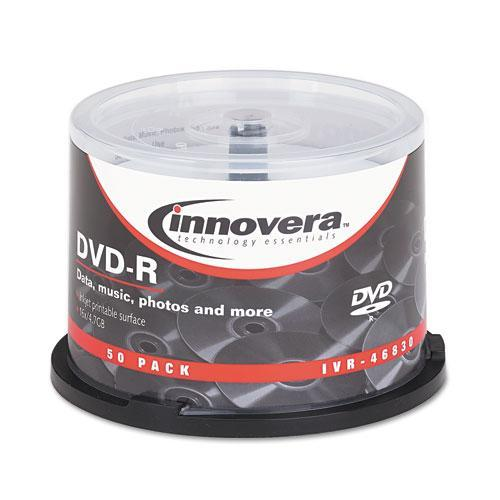 Innovera Dvd-R Discs, Hub Printable, 4.7gb, 16x, Spindle, Matte White, 50-pack-Innovera®-Omni Supply