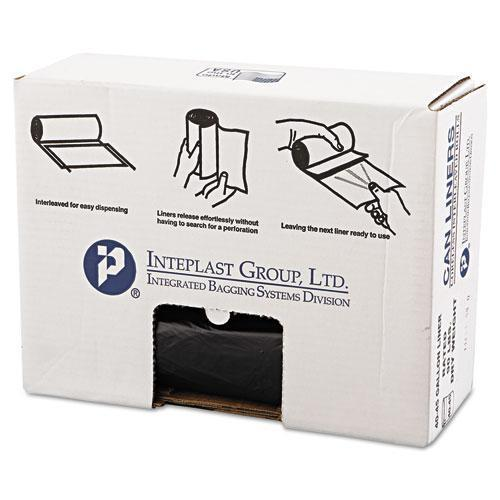 Inteplast High-Density Can Liner, 40 X 46, 45gal, 19mic, Black, 25-roll, 6 Rolls-carton-Inteplast Group-Omni Supply