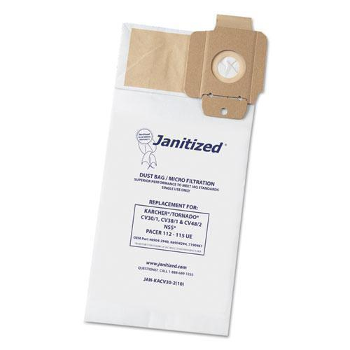 Janitized Vacuum Filter Bag Designed To Fit Karcher-tornado Cv30-1, Cv38-1, Cv48-2, 100-ct-Janitized®-Omni Supply