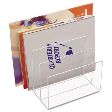Kantek Clear Acrylic Desk File, Three Sections, 8 X 6 1-2 X 7 1-2, Clear-Kantek-Omni Supply