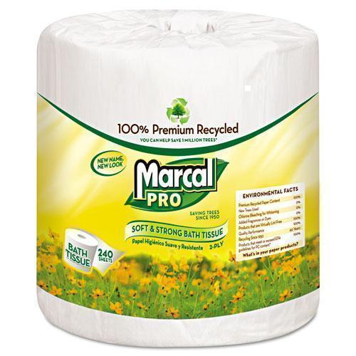Marcal 100% Recycled Bathroom Tissue, White, 240 Sheets-roll, 48 Rolls-carton-Marcal PRO™-Omni Supply
