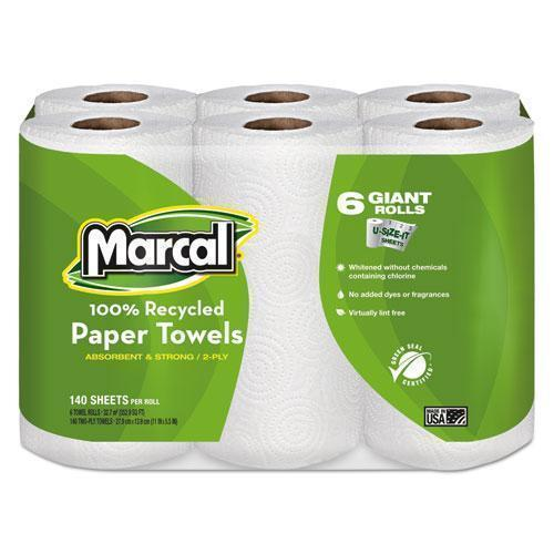 Marcal 100% Recycled Roll Towels, 2-Ply, 5 1-2 X 11, 140-roll, 6 Rolls-pack-Marcal®-Omni Supply