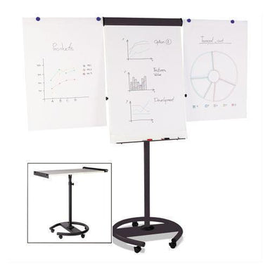 MasterVisi 360 Multi-Use Mobile Magnetic Dry Erase Easel, 27 X 41, Black Frame-MasterVision®-Omni Supply