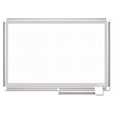 MasterVisi All Purpose Porcelain Dry Erase Planning Board, 1 X 1 Grid, 36 X 24, Aluminum-MasterVision®-Omni Supply