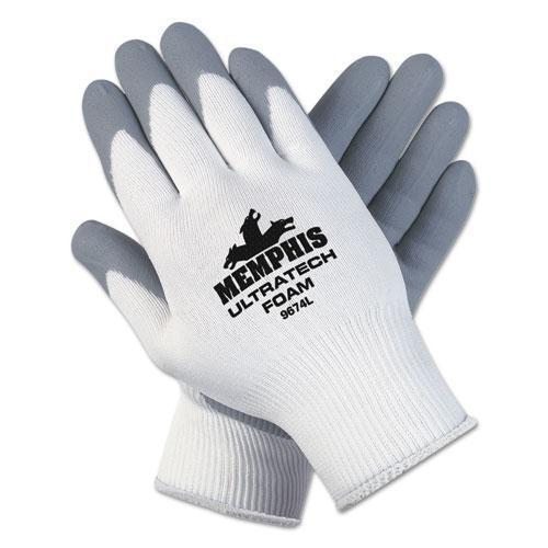 MCR Safety Ultra Tech Foam Seamless Nylon Knit Gloves, Large, White-gray, 12 Pair-dozen-MCR™ Safety-Omni Supply