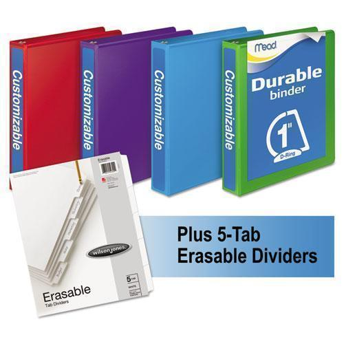 "Mead Durable D-Ring View Binder Plus Pack, 1"" Cap, Assorted Colors, 4-carton-Mead®-Omni Supply"
