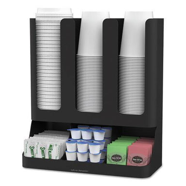 MindReader Flume Six-Section Upright Coffee Condiment-cup Organizer, Black, 11.5 X 6.5 X 15-Mind Reader-Omni Supply