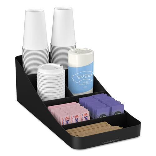 MindReader Trove Seven-Compartment Coffee Condiment Organizer, Black, 7 3-4 X 16 X 5 1-4-Mind Reader-Omni Supply