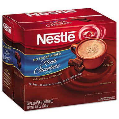 Nestle No-Sugar-Added Hot Cocoa Mix Envelopes, Rich Chocolate, 0.28 Oz Packet, 30-box-Nestle®-Omni Supply