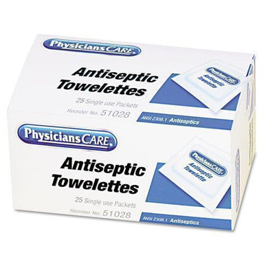 PhysicFAO First Aid Antiseptic Towelettes, 25-box-PhysiciansCare® by First Aid Only®-Omni Supply