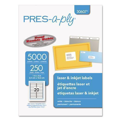 PRES-A-PLY Laser Address Labels, 1 X 4, White, 5000-box-PRES-a-ply®-Omni Supply