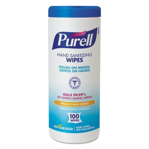 "PURELL Premoistened Hand Sanitizing Wipes, Cloth, 5 3-4"" X 7"", 100-canister-PURELL®-Omni Supply"