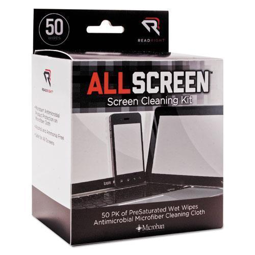 Read Right Allscreen Screen Cleaning Kit, 50 Wipes, 1 Microfiber Cloth-Read Right®-Omni Supply