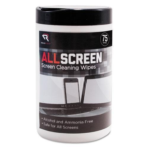 "Read Right Allscreen Screen Cleaning Wipes, 6"" X 6"", White, 75-tub-Read Right®-Omni Supply"