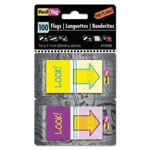 "Redi-Tag Pop-Up Fab Page Flags W-dispenser, ""look!"", Purple-yellow; Yellow-teal, 100-pack-Redi-Tag®-Omni Supply"