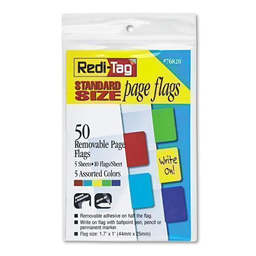 Redi-Tag Removable Page Flags, Red-blue-green-yellow-purple, 10-color, 50-pack-Redi-Tag®-Omni Supply