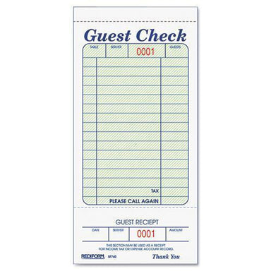 Rediform Guest Check Book, 3 3-8 X 6 1-2, Tear-Off At Bottom, 50-book-Rediform®-Omni Supply