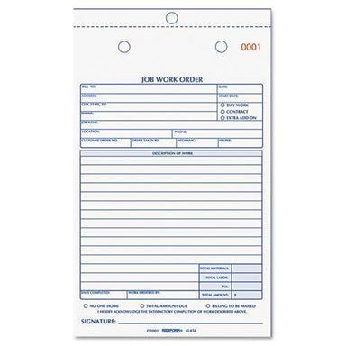 Rediform Job Work Order Book, 5 1-2 X 8 1-2, Two Part Carbonless, 50-book-Rediform®-Omni Supply