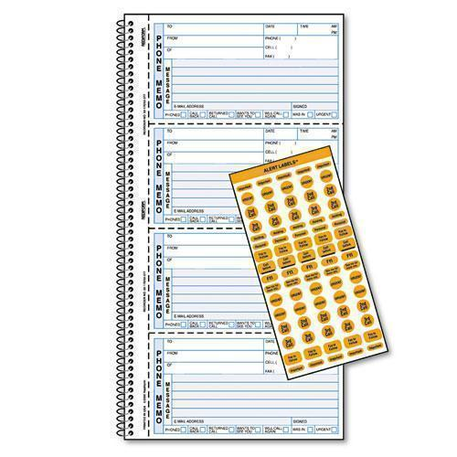 Rediform Wirebound Message Book, 5 X 2 3-4, Two-Part Carbonless, 400 Forms, 120 Labels-Rediform®-Omni Supply