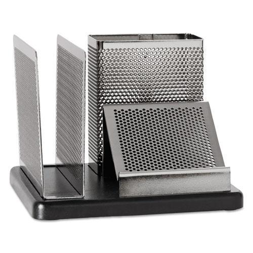 Rolodex Distinctions Desk Organizer, 5 7-8 X 5 7-8 X 4 1-2, Metal-black-Rolodex™-Omni Supply
