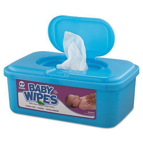 Royal Baby Wipes Tub, White, 80-tub, 12-carton-Royal-Omni Supply