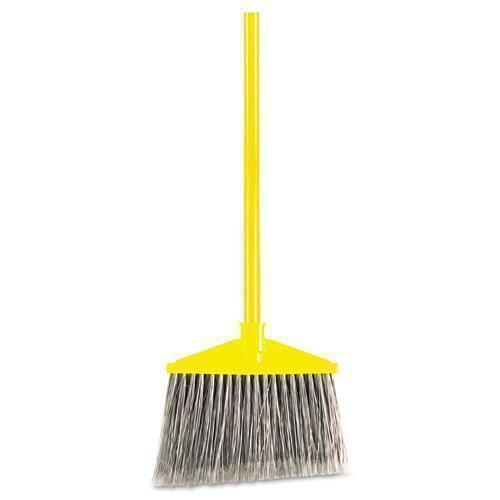"Rubbermaid Angled Large Broom, Poly Bristles, 46 7-8"" Metal Handle, Yellow-gray-Rubbermaid® Commercial-Omni Supply"