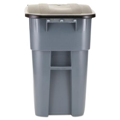 Rubbermaid Brute Rollout Container, Square, Plastic, 50gal, Gray-Rubbermaid® Commercial-Omni Supply