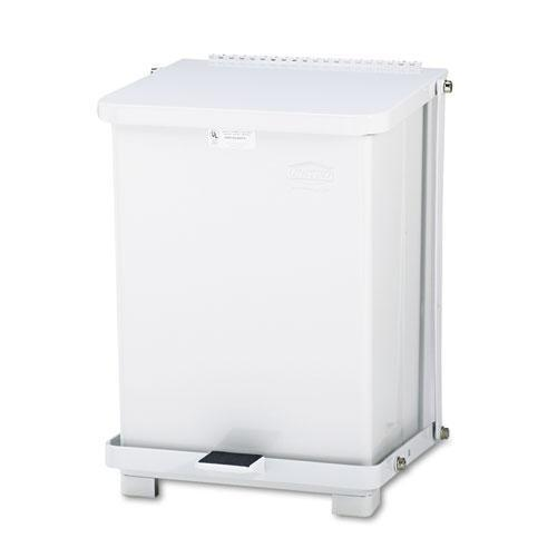 Rubbermaid Defenders Biohazard Step Can, Square, Steel, 7gal, White-Rubbermaid® Commercial-Omni Supply