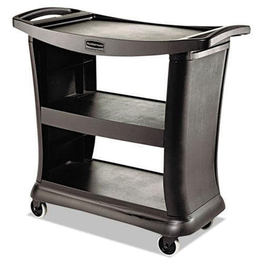 Rubbermaid Executive Service Cart, Three-Shelf, 20-1-3w X 38-9-10d, Black-Rubbermaid® Commercial-Omni Supply