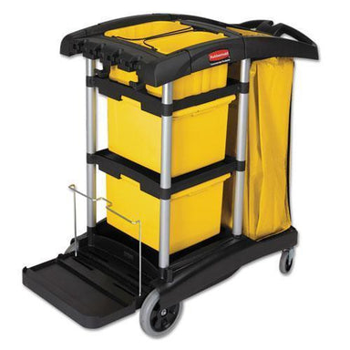 Rubbermaid Hygen M-Fiber Healthcare Cleaning Cart, 22w X 48-1-4d X 44h, Black-yellow-silver-Rubbermaid® Commercial HYGEN™-Omni Supply