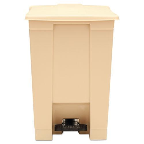 Rubbermaid Indoor Utility Step-On Waste Container, Square, Plastic, 12gal, Beige-Rubbermaid® Commercial-Omni Supply