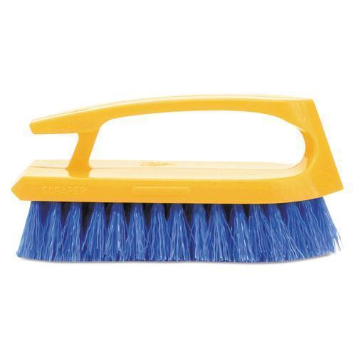 "Rubbermaid Long Handle Scrub Brush, 6"" Brush, Yellow Plastic Handle-blue Bristles-Rubbermaid® Commercial-Omni Supply"