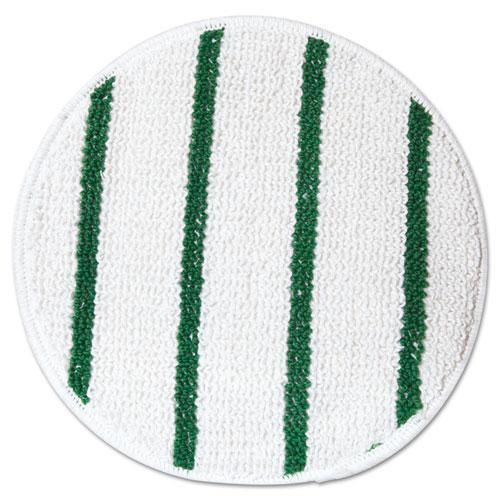 "Rubbermaid Low Profile Scrub-Strip Carpet Bonnet, 17"" Diameter, White-green-Rubbermaid® Commercial-Omni Supply"