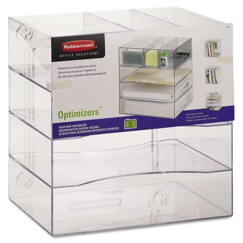 Rubbermaid Optimizers Four-Way Organizer With Drawers, Plastic, 10 X 13 1-4 X 13 1-4, Clear-Rubbermaid®-Omni Supply