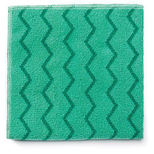 Rubbermaid Reusable Cleaning Cloths, Microfiber, 16 X 16, Green, 12-carton-Rubbermaid® Commercial-Omni Supply