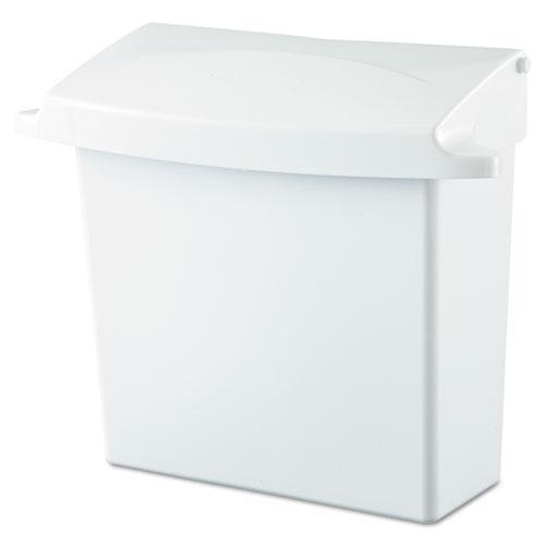 Rubbermaid Sanitary Napkin Receptacle With Rigid Liner, Rectangular, Plastic, White-Rubbermaid® Commercial-Omni Supply