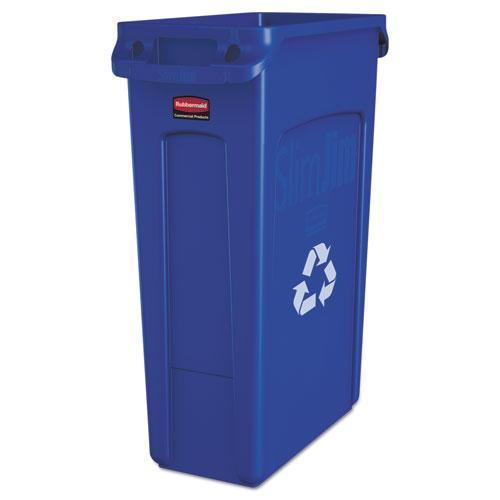 Rubbermaid Slim Jim Recycling Container W-venting Channels, Plastic, 23 Gal, Blue-Rubbermaid® Commercial-Omni Supply