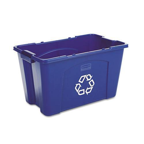 Rubbermaid Stacking Recycle Bin, Rectangular, Polyethylene, 18gal, Blue-Rubbermaid® Commercial-Omni Supply