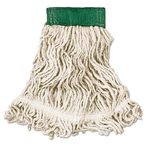 Rubbermaid Super Stitch Looped-End Wet Mop Head, Cotton-synthetic, Medium, Green-white-Rubbermaid® Commercial-Omni Supply