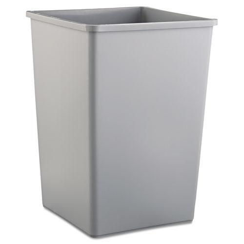 Rubbermaid UNTOUCHABLE SQUARE WASTE RECEPTACLE, PLASTIC, 35GAL, GRAY-Rubbermaid® Commercial-Omni Supply