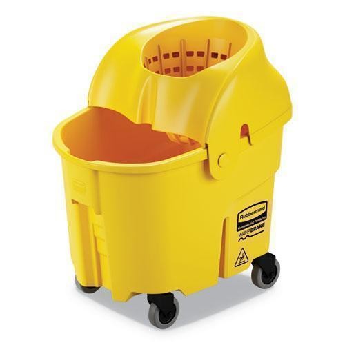 Rubbermaid WAVEBRAKE 2.0 BUCKET-WRINGER COMBOS, DOWN-PRESS, 35 QT, PLASTIC, YELLOW-Rubbermaid® Commercial-Omni Supply