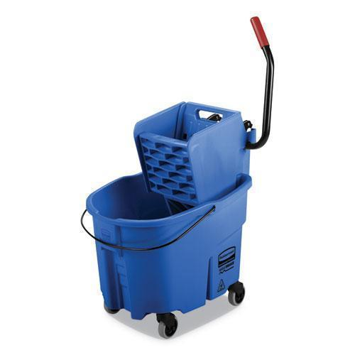 Rubbermaid WAVEBRAKE 2.0 BUCKET-WRINGER COMBOS, SIDE-PRESS, 35 QT, PLASTIC, BLUE-Rubbermaid® Commercial-Omni Supply