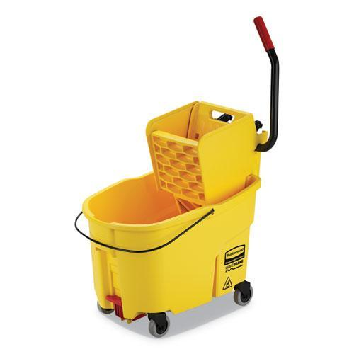 Rubbermaid WAVEBRAKE 2.0 BUCKET-WRINGER COMBOS, SIDE-PRESS, 44 QT, PLASTIC, YELLOW-Rubbermaid® Commercial-Omni Supply