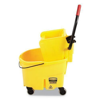 Rubbermaid WAVEBRAKE 2.0 BUCKET-WRINGER COMBOS, SIDE-PRESS, 6.5 GAL, PLASTIC, YELLOW-Rubbermaid® Commercial-Omni Supply