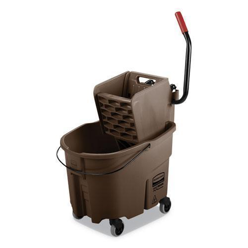 Rubbermaid WAVEBRAKE 2.0 BUCKET-WRINGER COMBOS, SIDE-PRESS, 8.75 GAL, PLASTIC, BROWN-Rubbermaid® Commercial-Omni Supply